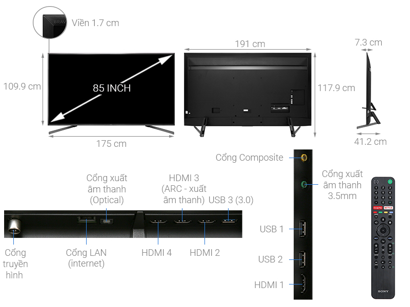Chi tiết Android Tivi Sony 4K 85 inch KD-85X9500G