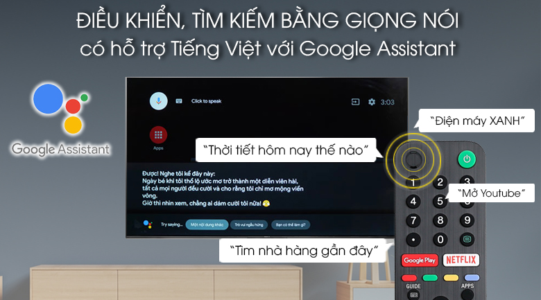 google assistant - tìm kiếm giọng nói tiếng việt trên 85x9500g