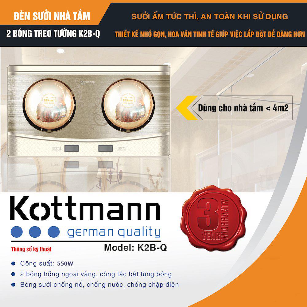 Đèn sưởi nhà tắm 2 bóng treo tường K2B-Q